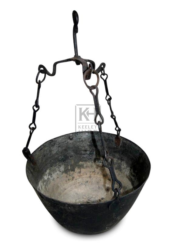 Large Iron Cooking Pot on Chains