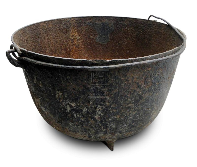 Large iron cooking pot with handle