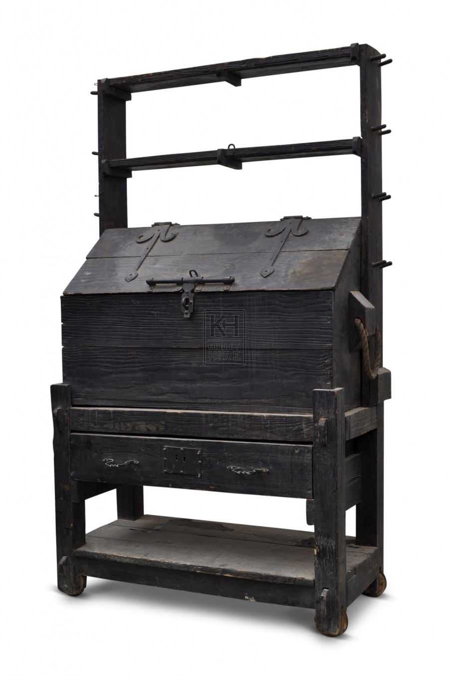 Dark wood freestanding tool chest