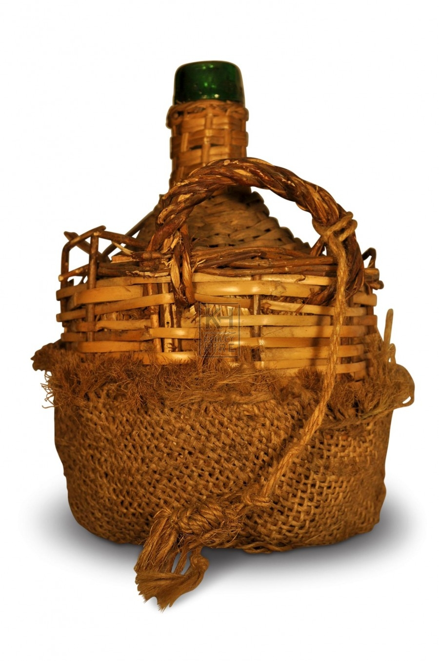 Wicker Wrapped Glass Bottle with handle