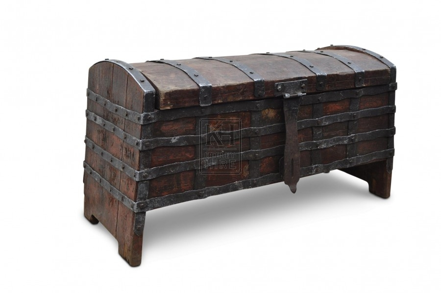 Large Iron bound Wood Coffer Chest