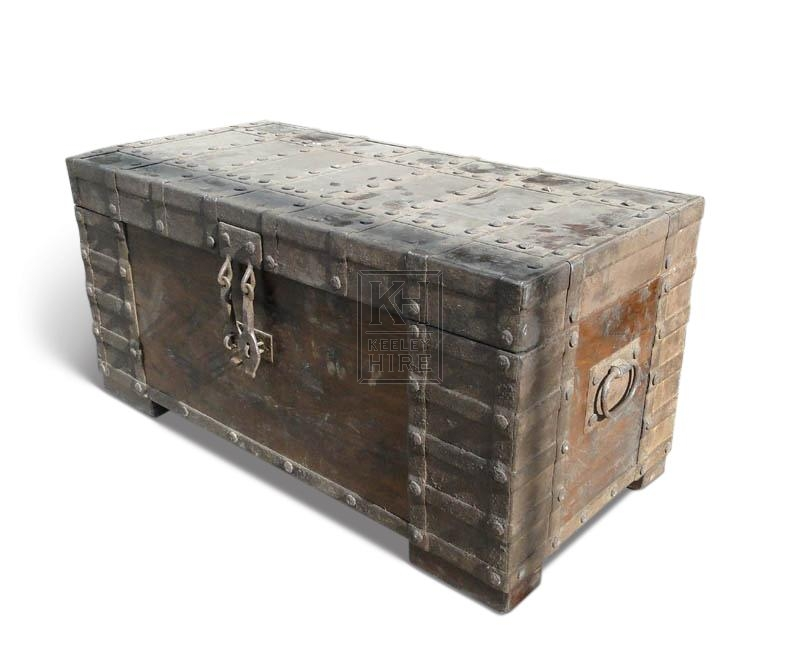 Studded wooden chest with ring handles