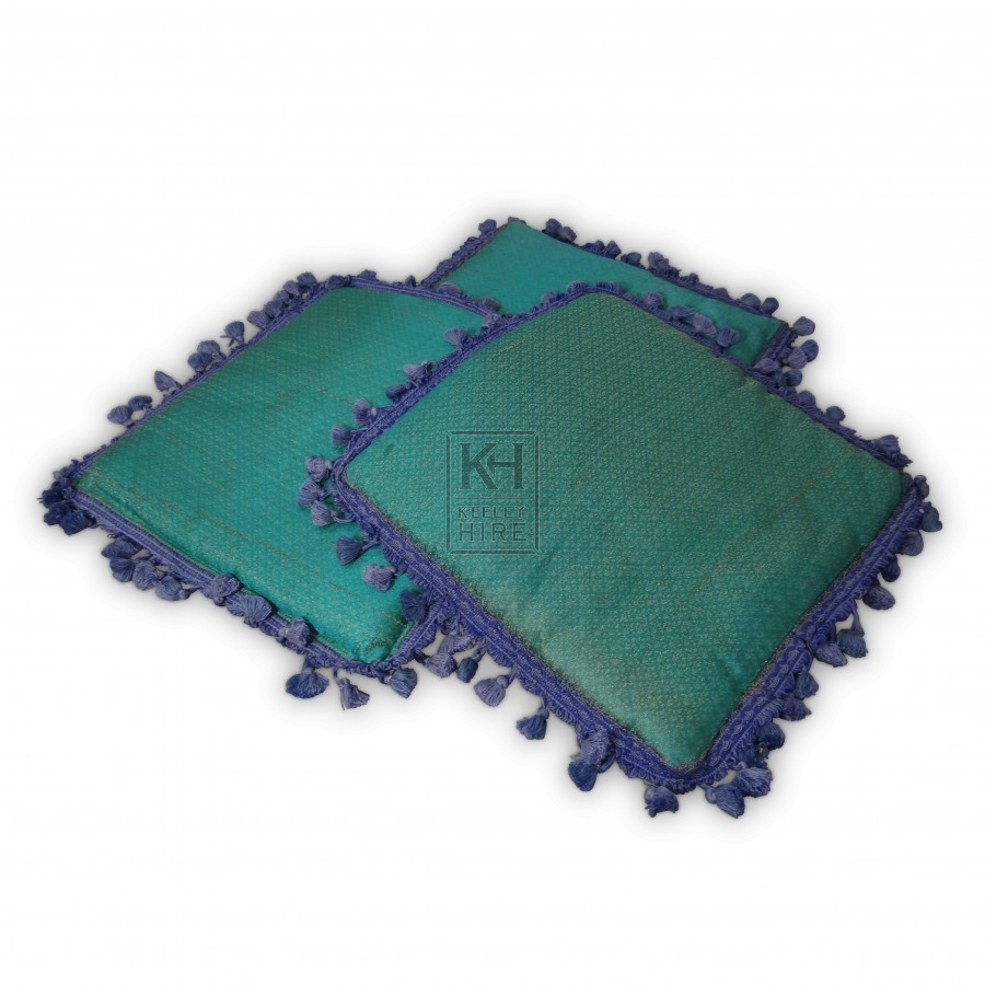 Turquiose with Blue Trimmed Cushion