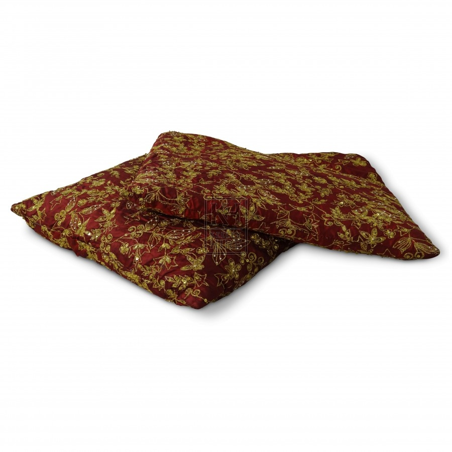 Embroidered Red Cushion
