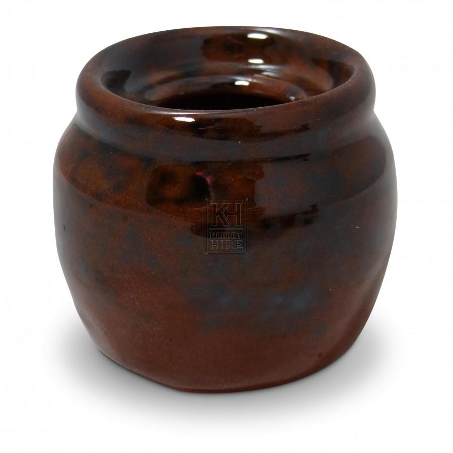 Small Ceramic Ink Pot with Rim