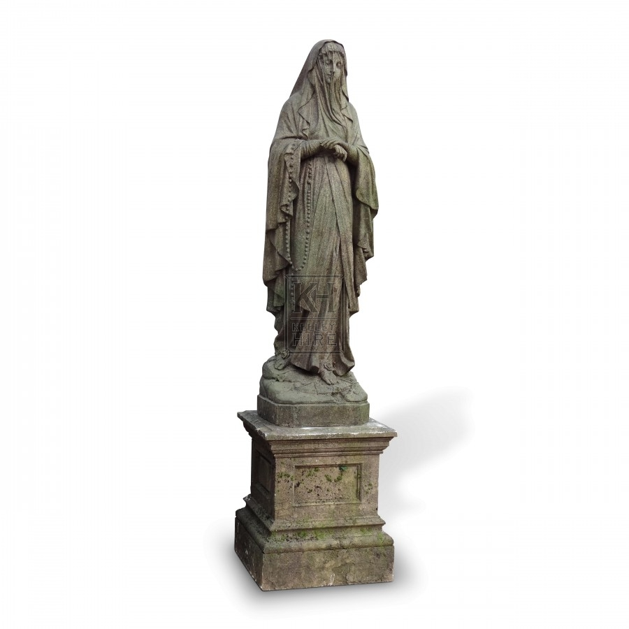 Veiled Lady Graveyard Statue on Plinth