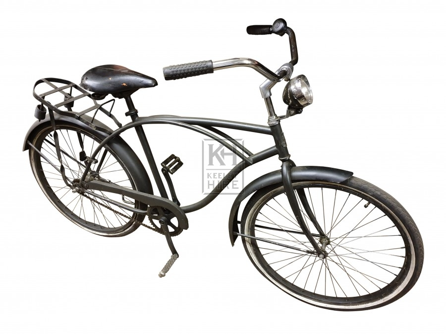 Black American bicycle with carrier