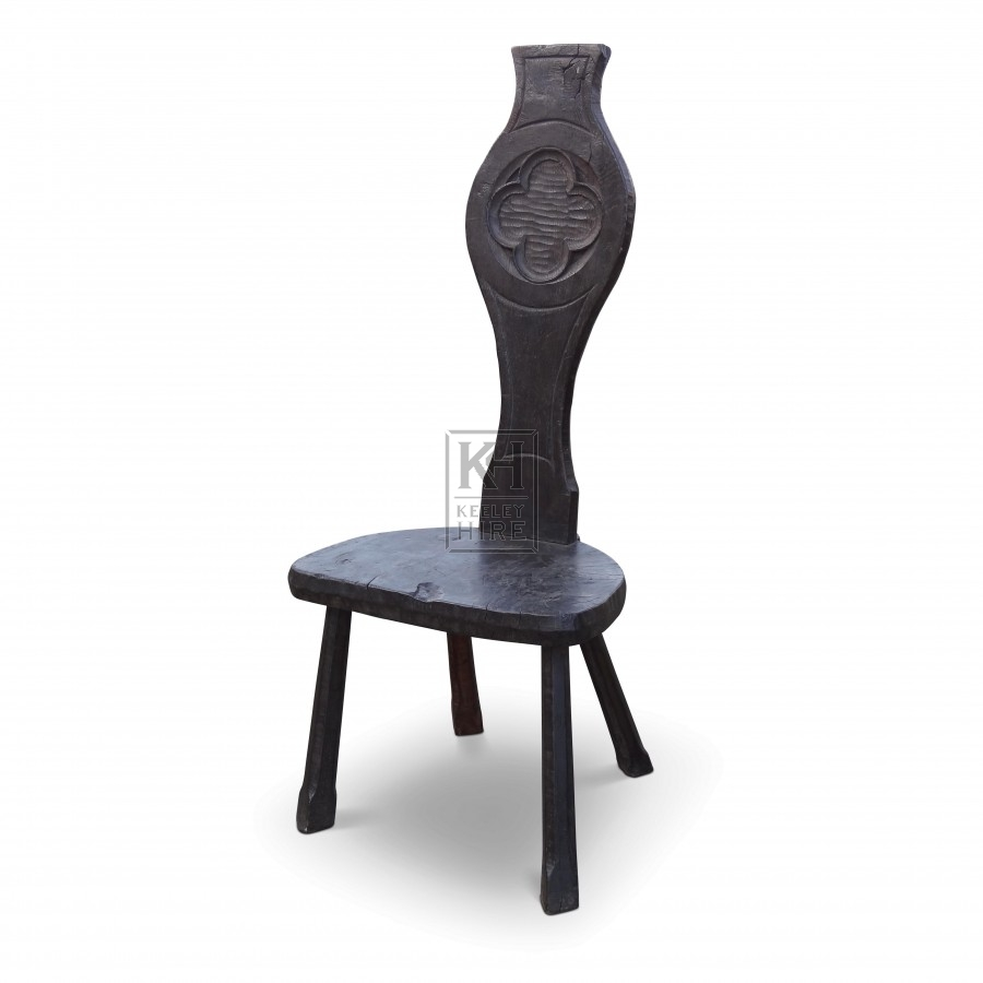Dark Carved Detail High Backed Chair