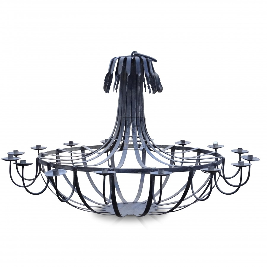 Large 16 Point Iron Chandelier