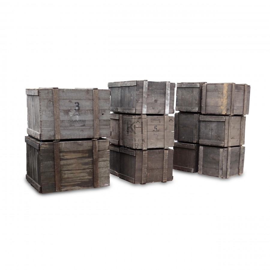 Assorted Wooden Packing Crates
