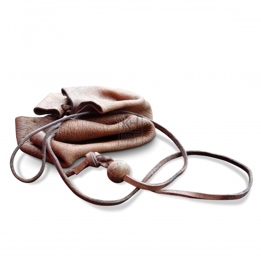 Simple Leather Drawstring Pouch