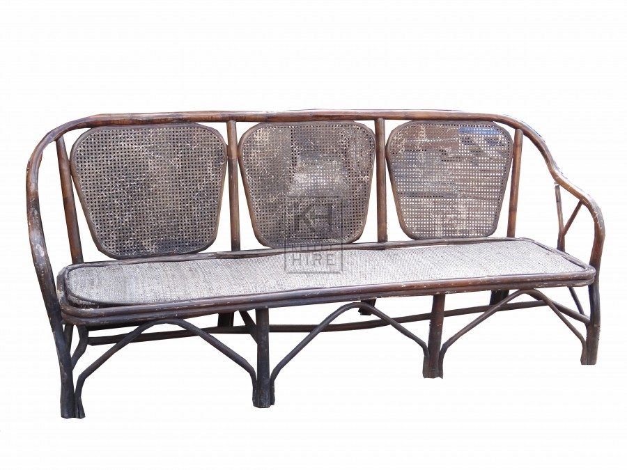 Wicker Bamboo Bench