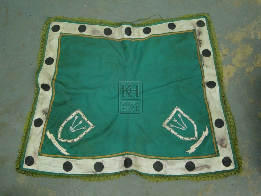 Green Saddle Blanket with Shield Icon