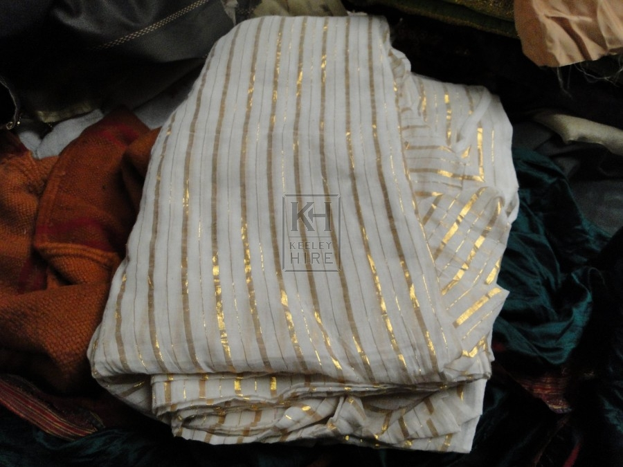White Fabric with Gold Stripe