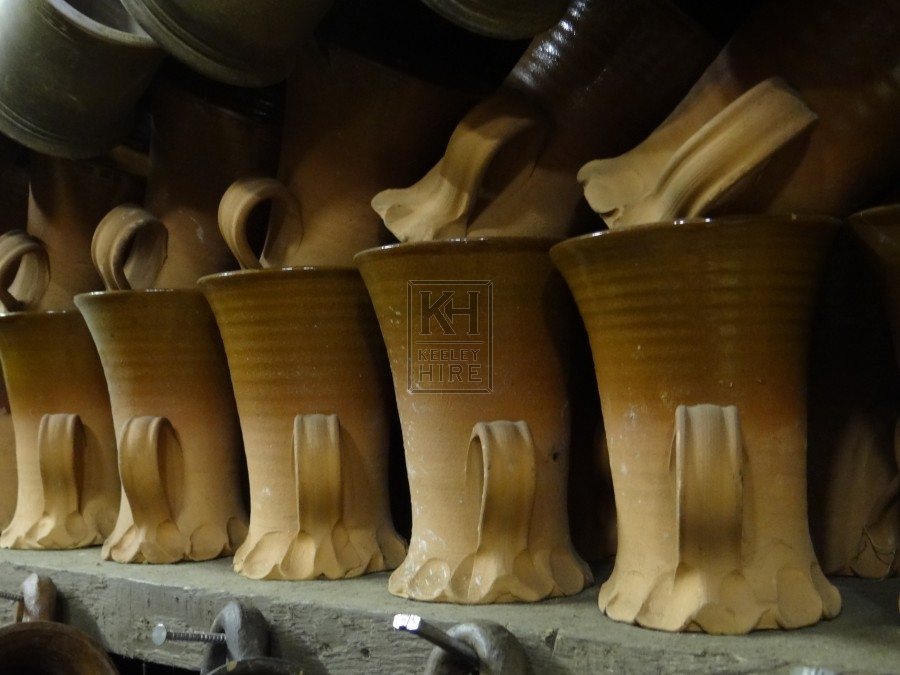 Tapered Ribbed Earthenware Tankards