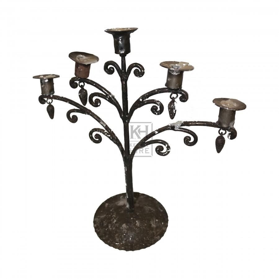 5 Branch Iron Table Candelabra