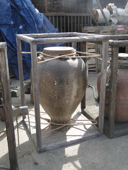 Fibreglass Urn in Wooden Frame