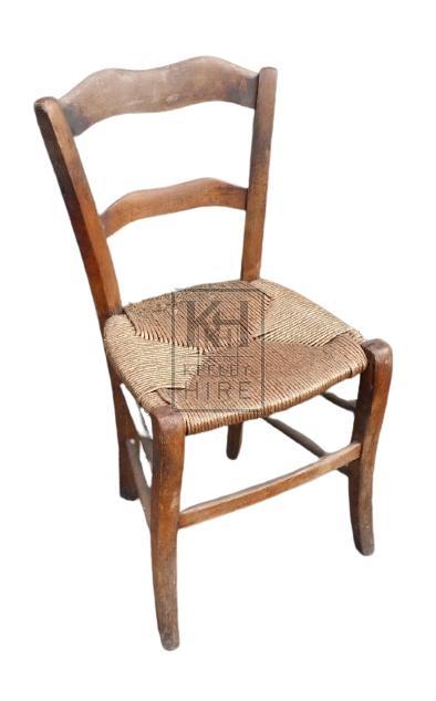 Straw seat wood chair