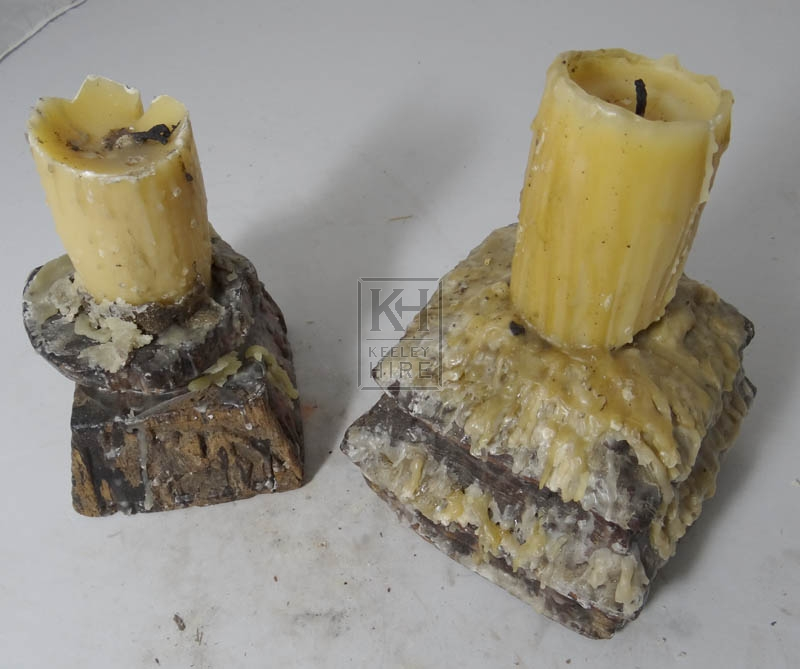 Thick wood candle holders