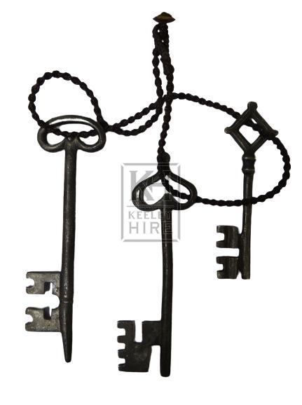 Shaped iron keys on leather