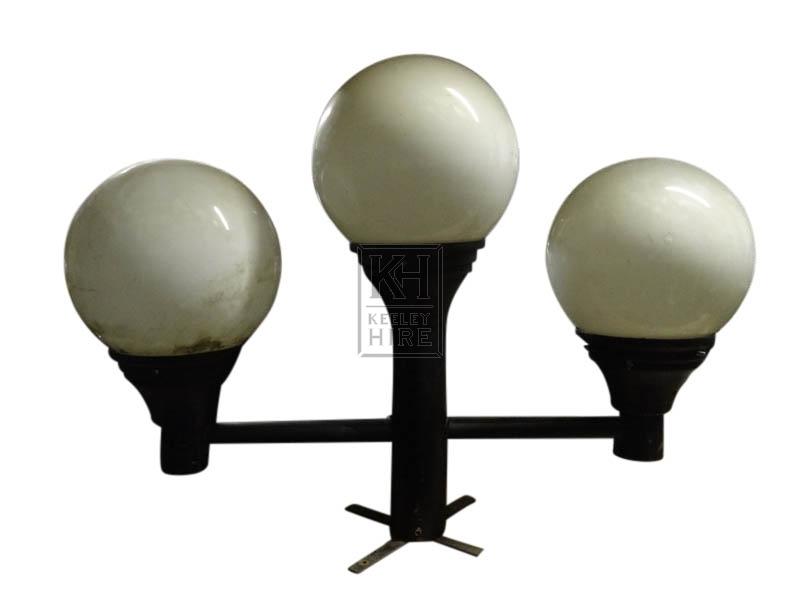 Triple globe tops on short pedestal