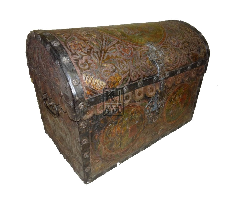 Ornate leather dome chest