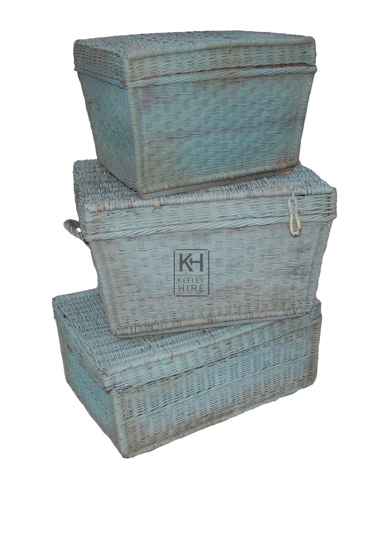 Turquoise Wicker Basket
