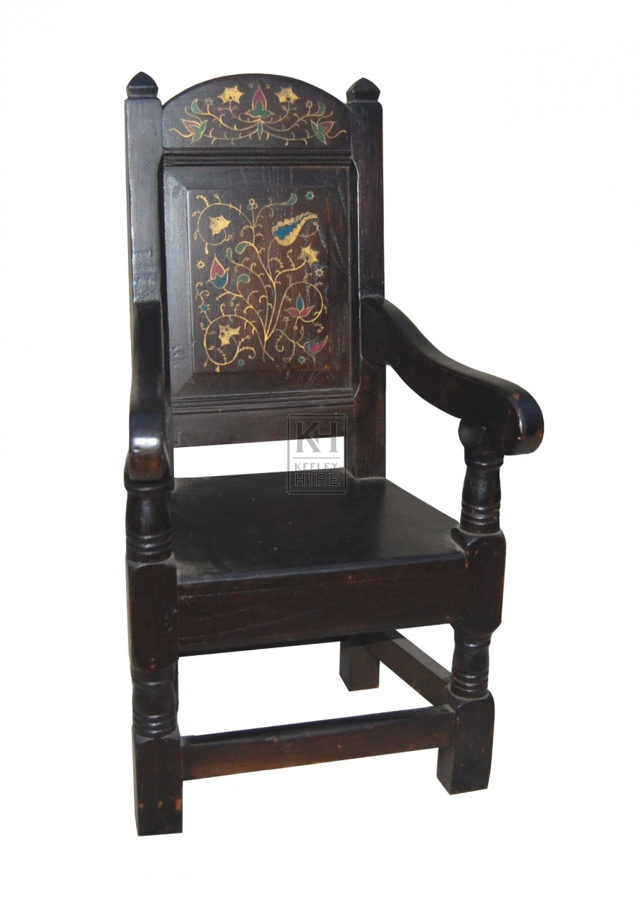 Small Wood Carved Back Armchair