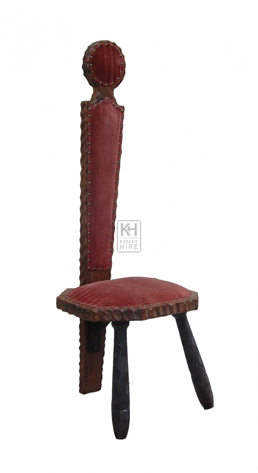 Wood Red Velvet High Back Chair