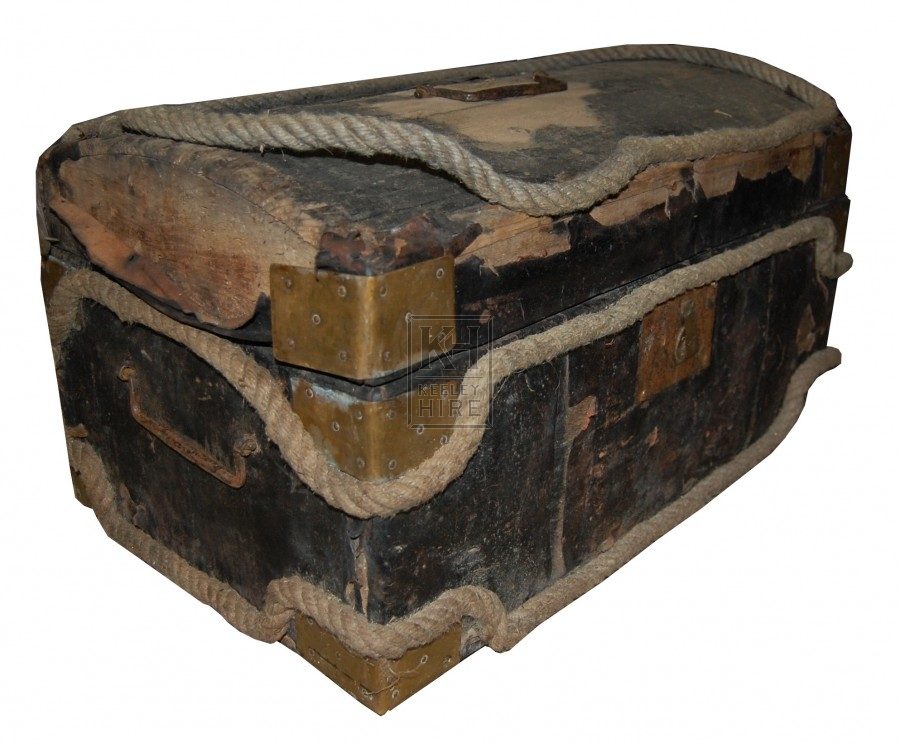 Weathered Wooden Rope Bound Chest