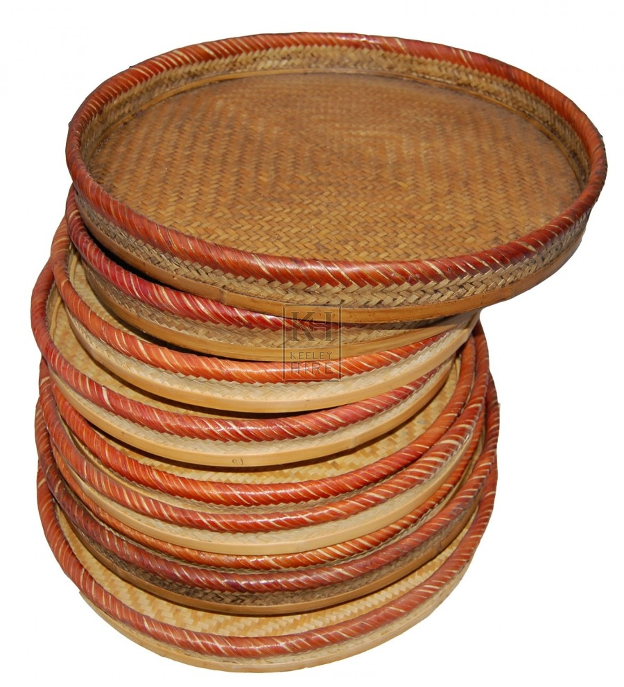 Round Flat Coloured Woven Baskets