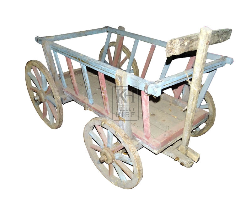 Faded blue painted dog cart