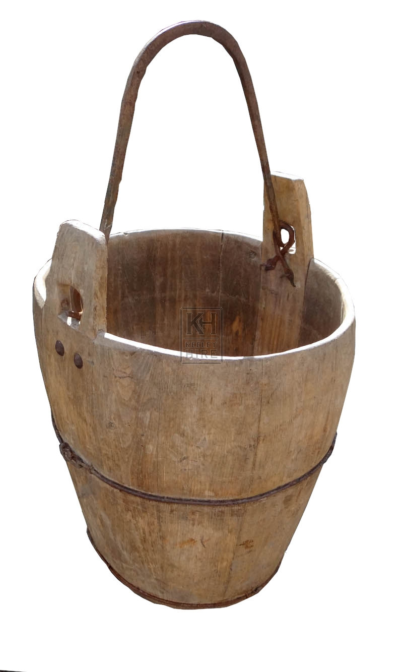 Bulbous wood bucket with iron bands