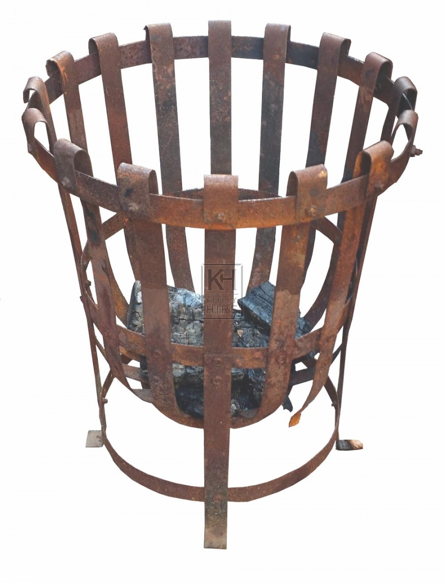 Iron brazier with curved bottom