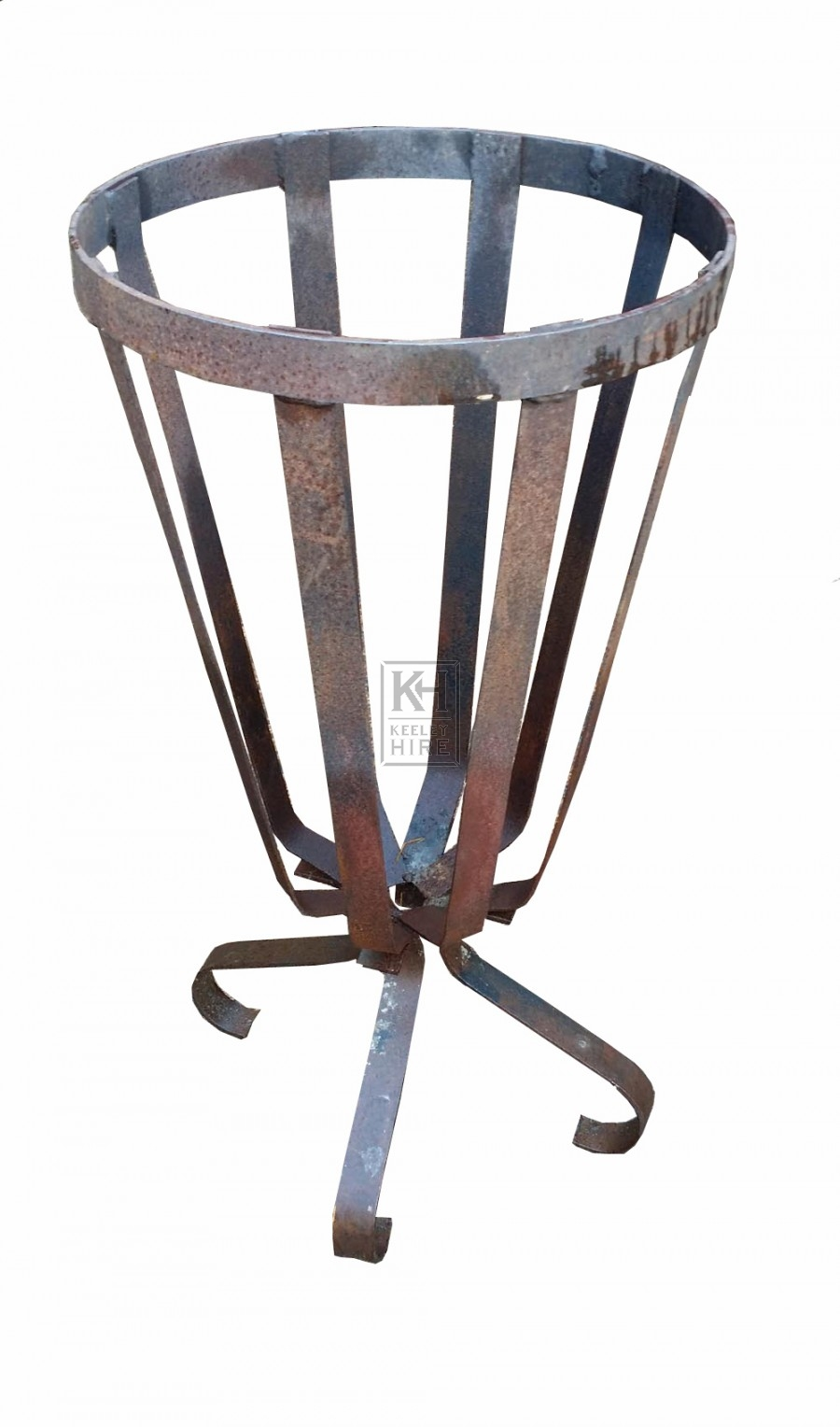 Shaped iron brazier on leg