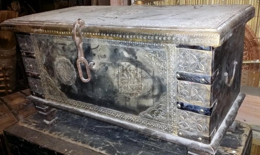 Large studded chest with brass