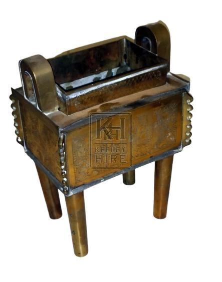 Small brass incense shrine on legs