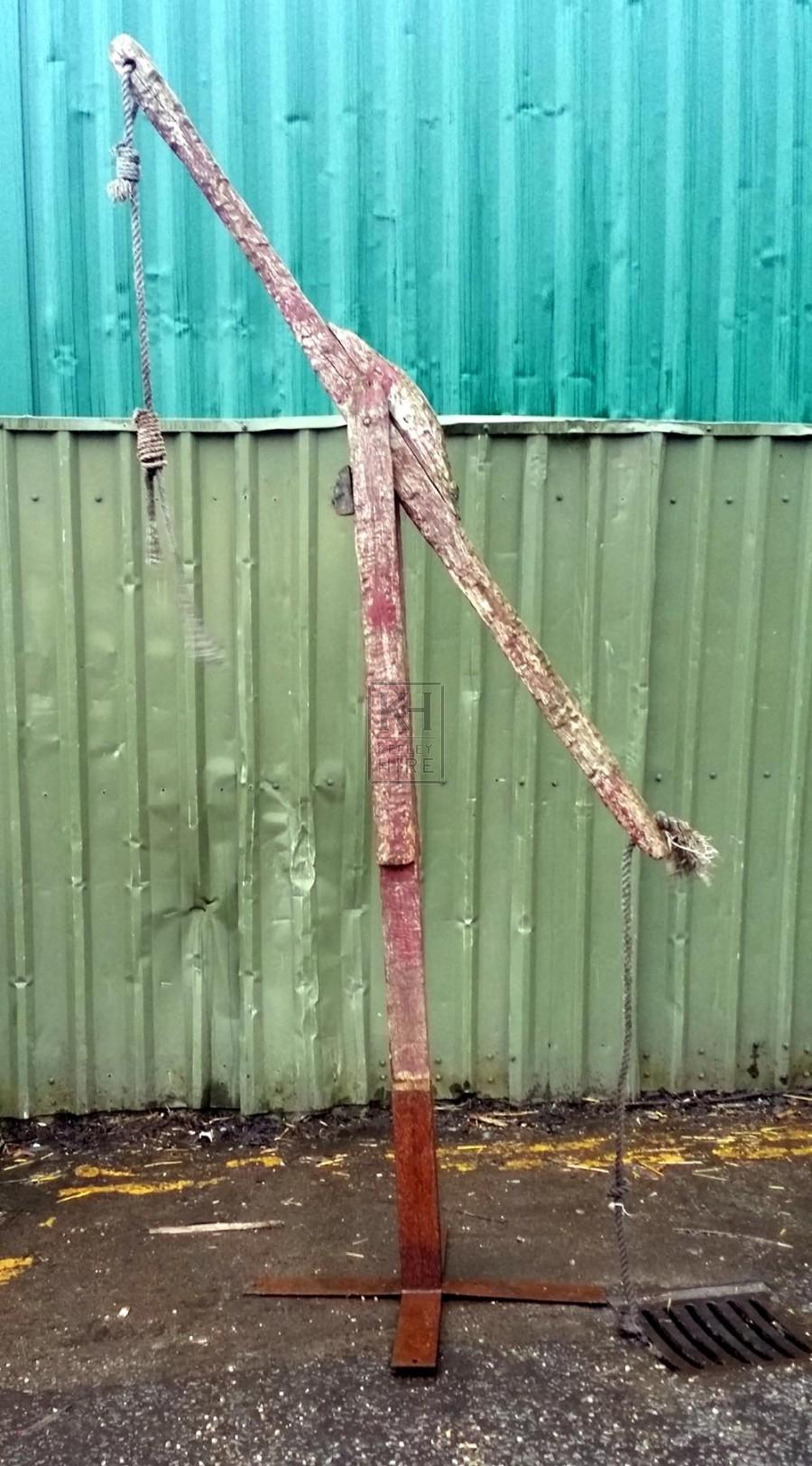 Large freestanding wood scales on base