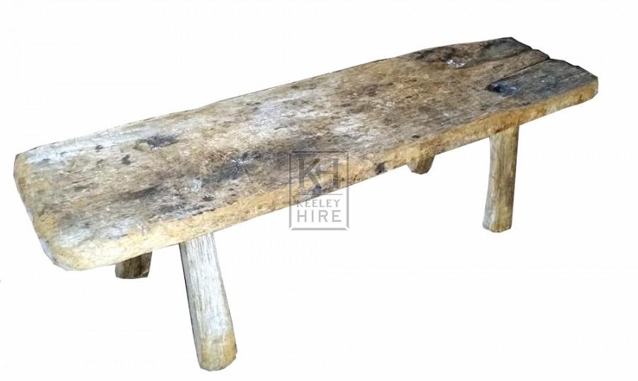 Rough wood 4-leg bench