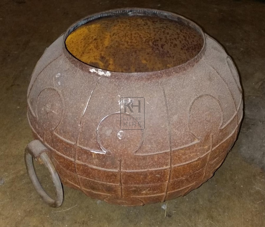 Large iron ornate cooking pot