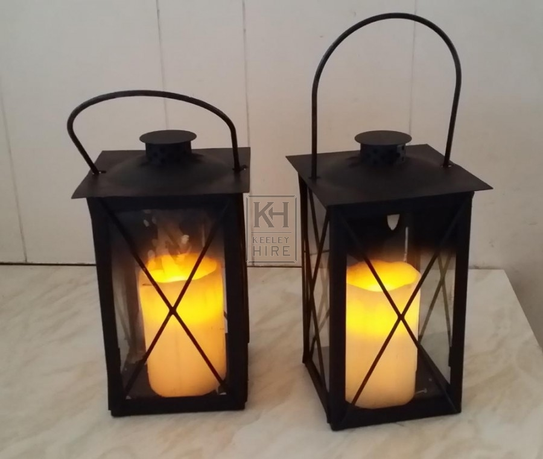 Square iron lantern with LED candle