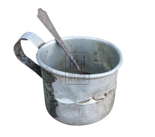 Old tatty metal tankard & spoon