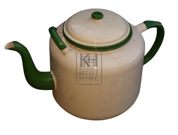 Cream & green enamel teapot