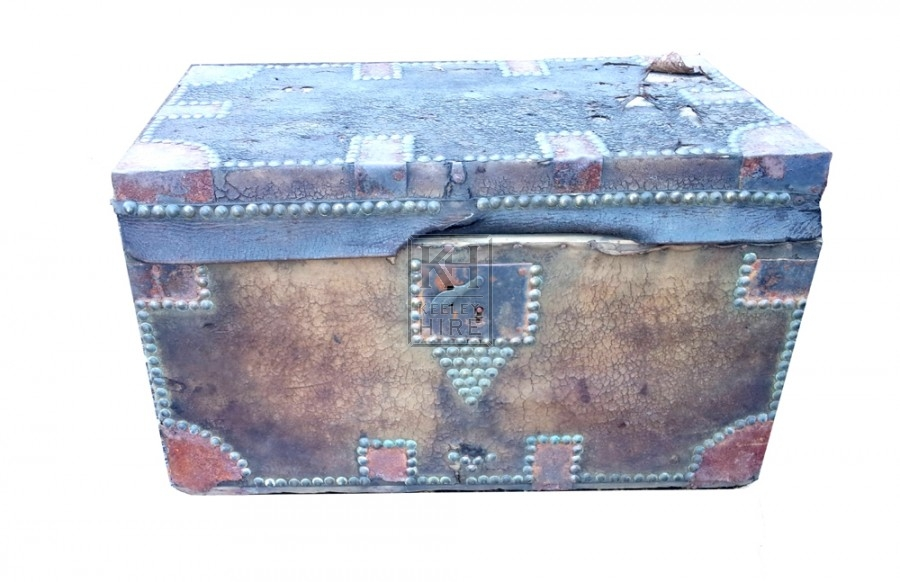 Worn leather flat top chest