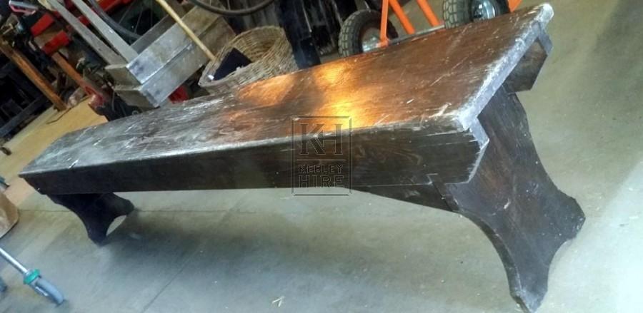 Long Dark Wood Bench