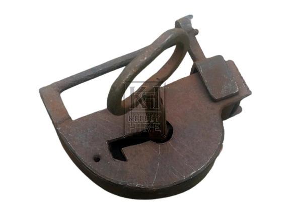 Small flat iron padlock with key