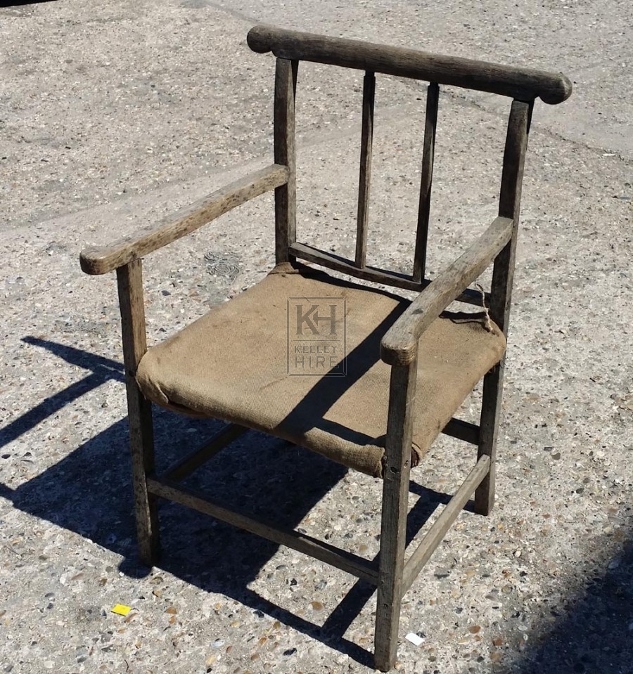 Rustic wood chair with hessian seat