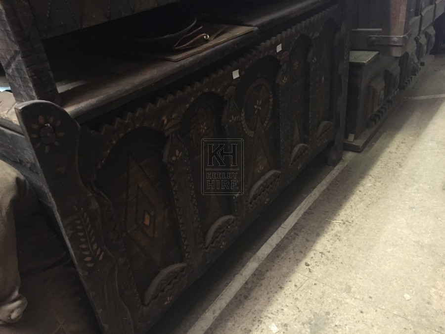 Large Carved Flat Top Chest