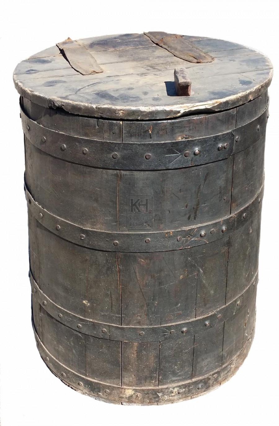 Large wood grain barrel