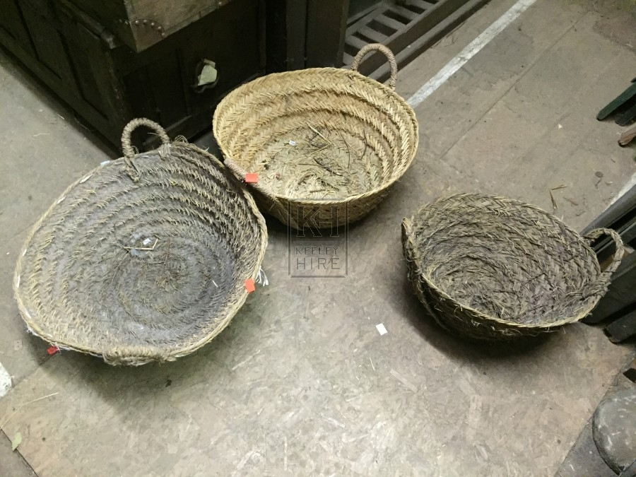 Large straw woven baskets